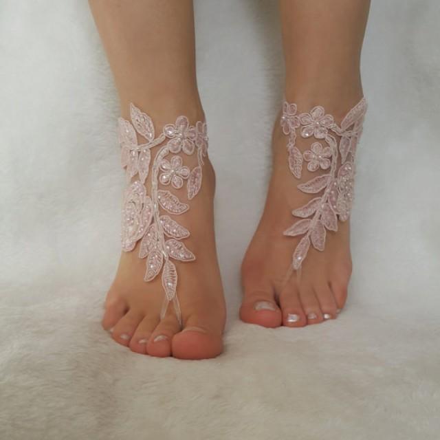wedding photo - blush pink ivory beaded beach wedding barefoot sandal country wedding shoes barefoot anklets bridesmaid bridal spectacular barefeet bangle