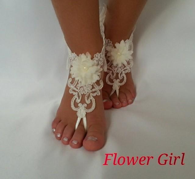wedding photo - Flower girl anklet , embrodeired, Beach wedding barefoot sandals, bangle, wedding , anklet , children's shoes , flower , kids , princess