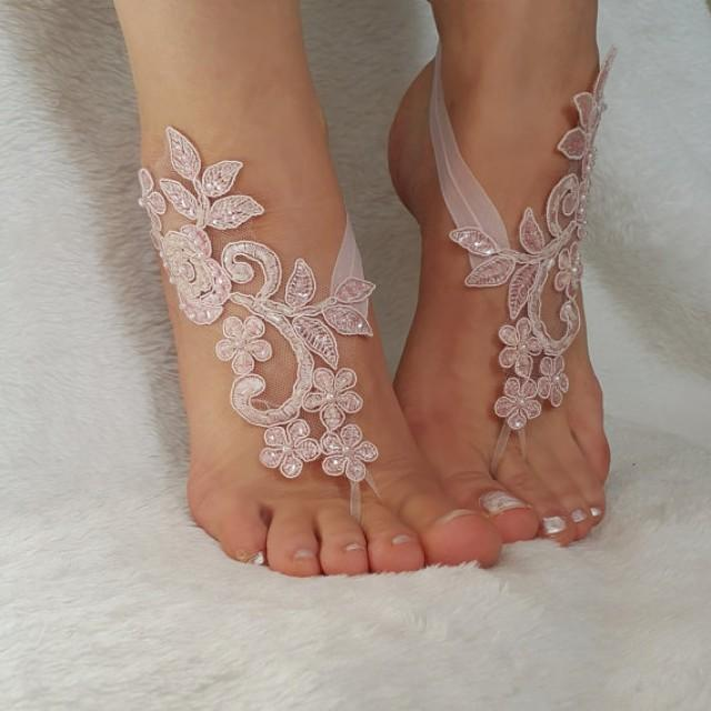 wedding photo - blush pink beaded beach wedding barefoot sandals country wedding shoes sandles barefoot anklets bridesmaid bridal spectacular barefeet