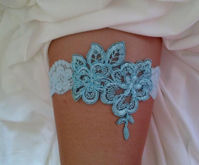 wedding photo - blue garter lace garter modern garter Lolita prom bridesmaid bridal garter burlesque garter free ship