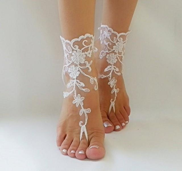 wedding photo - white Barefoot , french lace sandals, wedding anklet, Beach wedding barefoot sandals, embroidered sandals.