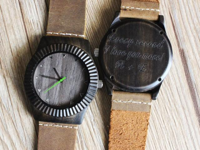 Mens watch wooden personalized anniversary gift for