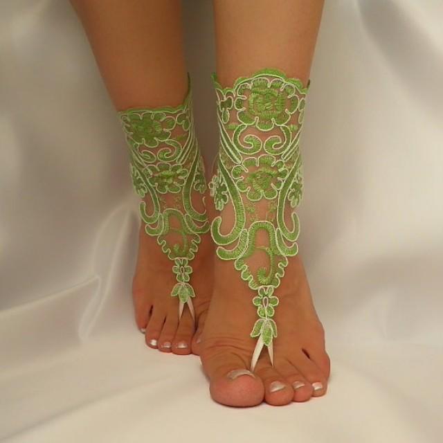 wedding photo - Lime green ivory frame,bridal anklet, ivory frame Beach wedding barefoot sandals,bangle, wedding anklet, free ship, anklet, bridal, wedding