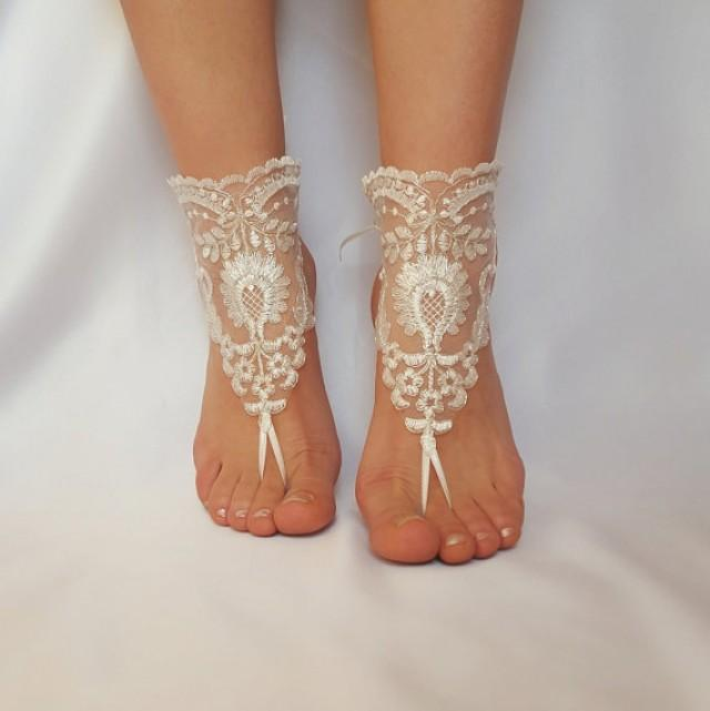 wedding photo - ivory silver frame beach wedding barefoot sandals shoes anklet bellydance steampunk beach pool country wedding sexy feet free ship unique