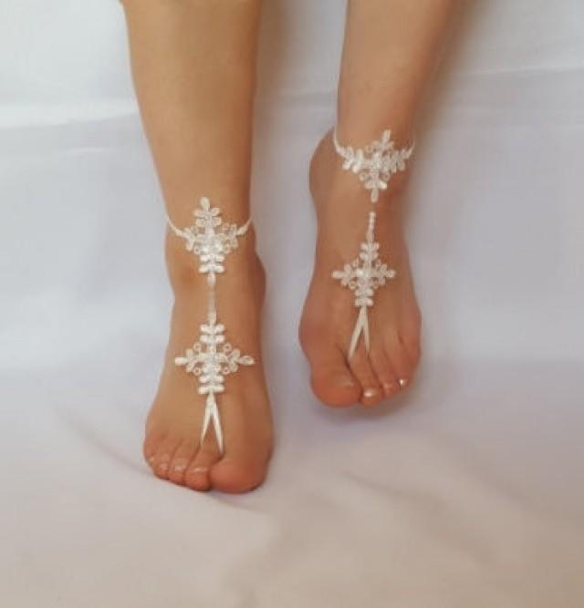 wedding photo - Beach wedding lace barefoot sandals FREE SHIP embroidered sandals, ivory Barefoot , french lace sandals, wedding anklet,