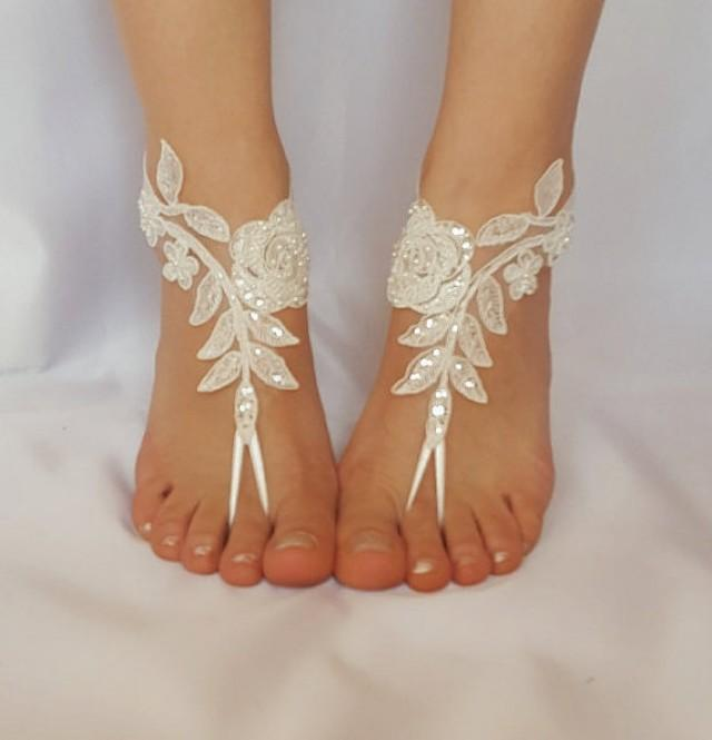 wedding photo - ivory beaded scaly beach wedding barefoot sandals free ship sexy feet shoes anklet bellydance steampunk beach pool barefeet country wedding