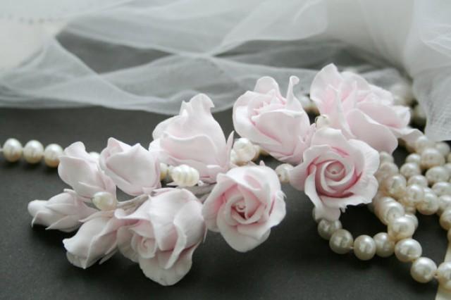 wedding photo - Tender pink Rose Wedding Hair flower Bridal flower headpiece Wedding Flower comb Bridal flower clip Rose Hair