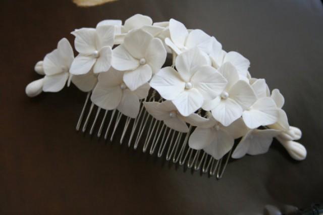 wedding photo - Hydrangea Hair comb, Bridal hair accessories, Bridal flower headpiece, Bridal flower comb, Bridal hair flower, Wedding flower comb
