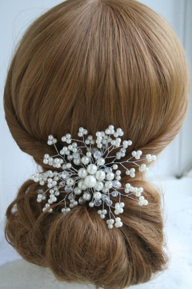 wedding photo - Pearl Wedding Hair Comb Crystal Bridal Hair Comb Pearl Hair comb Rhinestone Hair Comb Bridal Hair accessories Wedding hair accessories