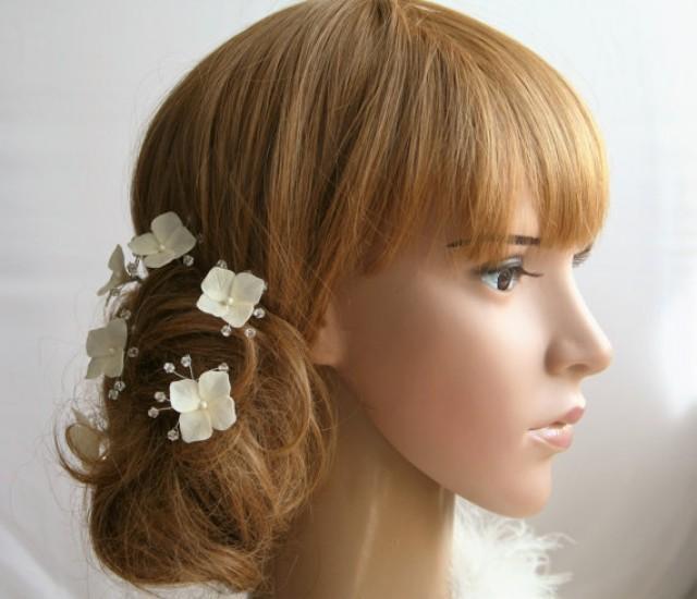 wedding photo - Hydrangea Bridal Hair Pins set Bridal flower hair pin Wedding hair pins Crystals hair pin Bridal hair flower