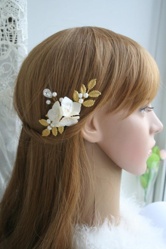 wedding photo - Bridal hair accessory Bridal Hair Pin Wedding flower hair pin Wedding flower pin Flower pin Gold leaf hair Hydrangea hair