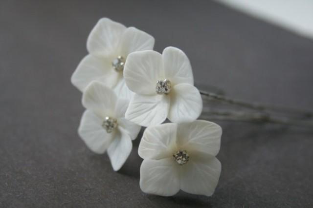 wedding photo - Bridal Hair Pins Wedding hair pins Hydrangea Flower hair pins Bridal flower hair clip Bridal flower pins Wedding flower pins