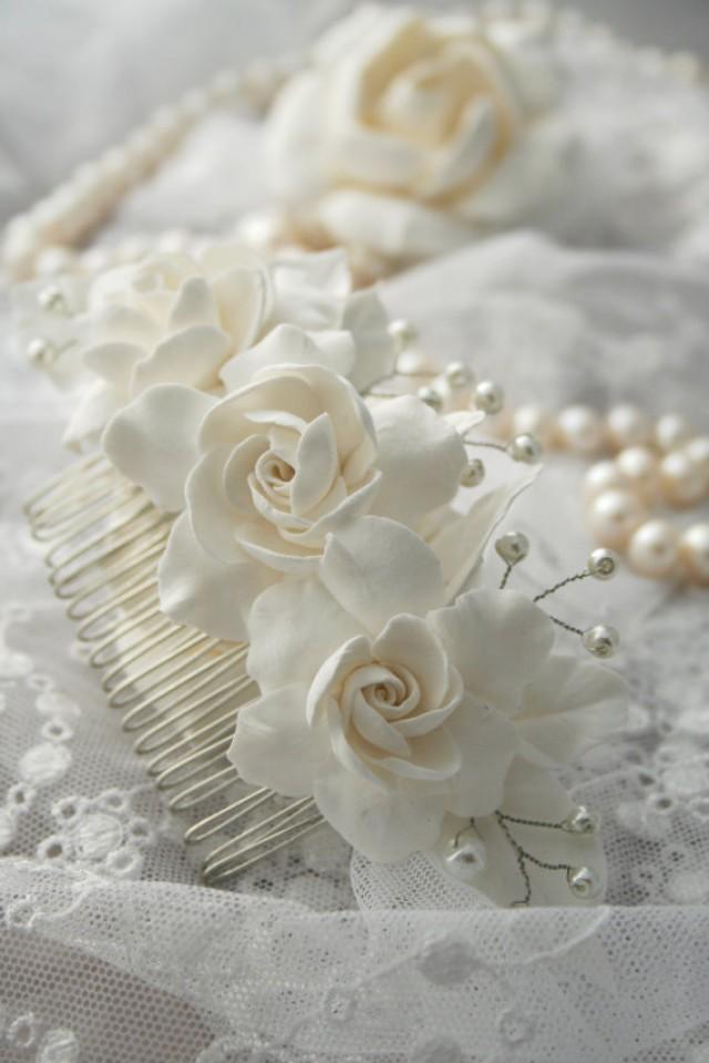 wedding photo - Bridal flower headpiece, Bridal flower comb, Bridal hair flower, Wedding flower comb, Bridal pearl comb, Bridal hair accessory, Gargenia