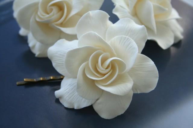 wedding photo - Ivory Flower Gardenia, Bridal Flower Hair Pin, Wedding Flower Hair Clip, Bridal hair accessory, Bridal flower pins, flower hair pin