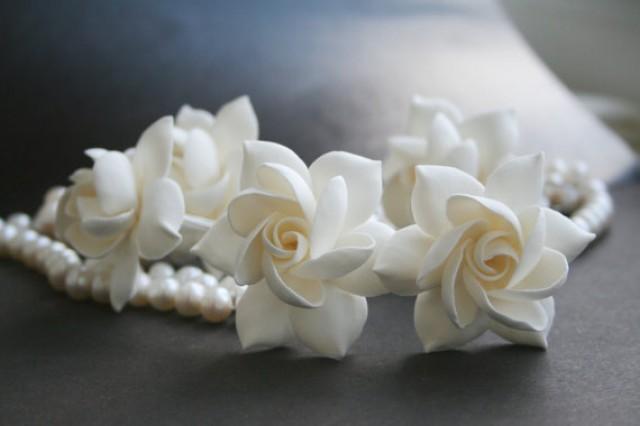 wedding photo - Gardenia hair pins set, wedding hair pin, Bridal hair accessory, Bridal flower pins, flower hair pin, Bridal hair flower, Flower hair pins,