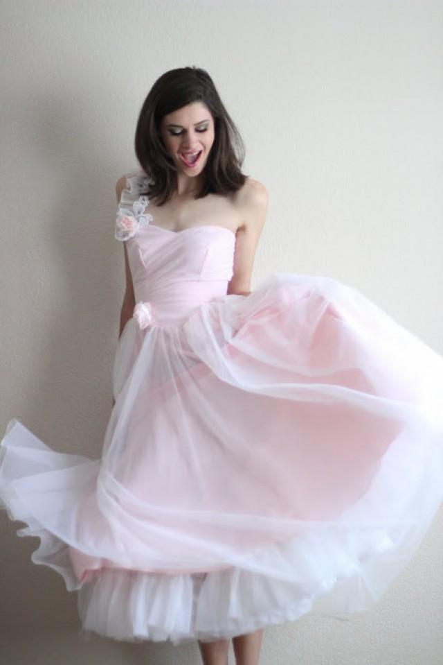 70s Does 50s Vintage Pink One Shoulder Evening Gown Ballerina Sweetheart Prom Dress Blush Fairy Satin Chiffon Tea Length Wedding