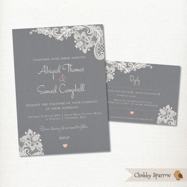 grey wedding invitation  rsvp card set kit  lace  u0026 linen