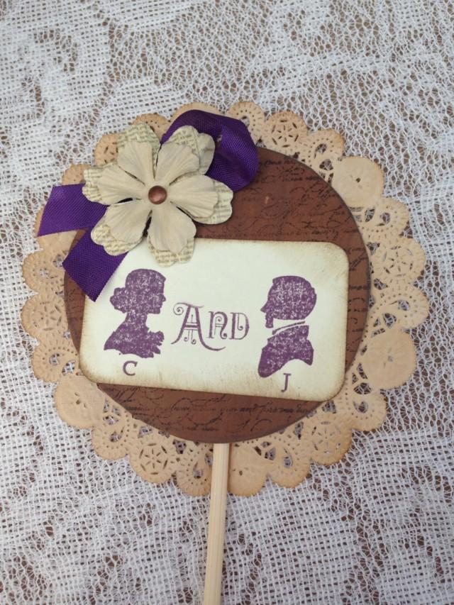 Cake Topper Shabby Chic Wedding Vintage Wedding Purple Wedding Rustic Wedding Vintage Wedding