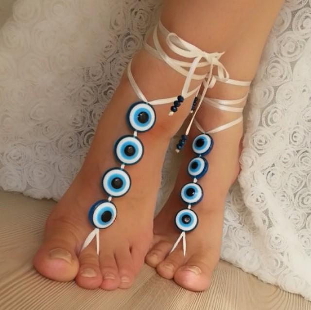 wedding photo - Evil eye bead anklet, FREE SHIP Beach wedding barefoot sandals, Steampunk, Beach Pool, Sexy, Yoga, Anklet , bellydance bridal party rustic