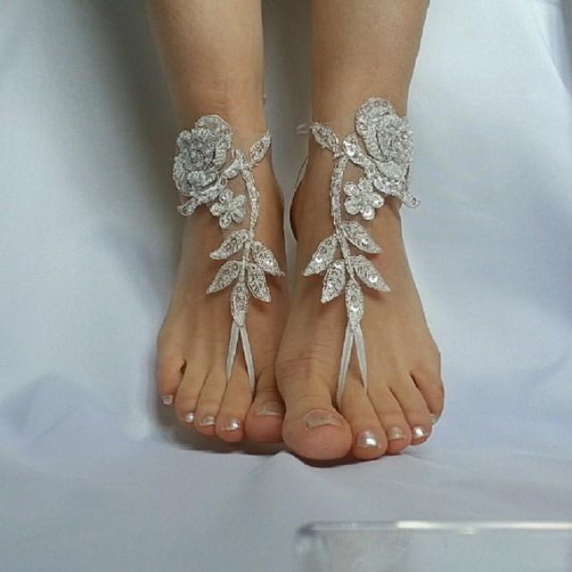 wedding photo - ivory silver frame barefeet beach wedding country wedding sandals shoes bridesmaid sexy free ship anklet barefoot Bellydance Steampunk
