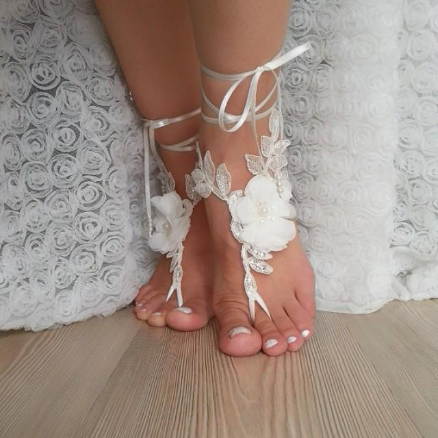 wedding photo - ivory scaly Barefoot , french lace sandals, wedding anklet, Beach wedding barefoot sandals, embroidered sandals.
