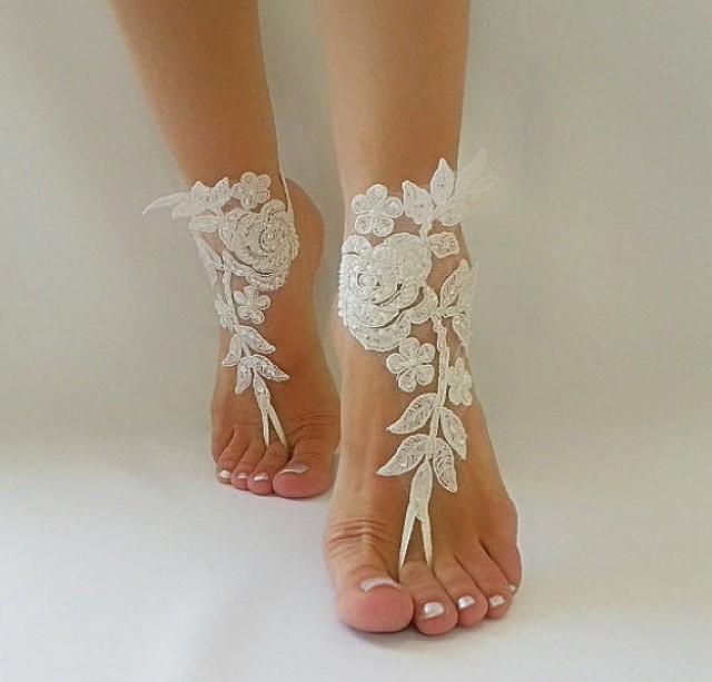 wedding photo - ivory Barefoot , french lace sandals, wedding anklet, Beach wedding barefoot sandals, embroidered sandals.