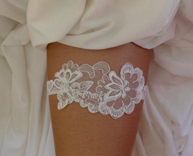 wedding photo - Ivory little metallic thread garter lace garter flower modern garter Lolita prom bridesmaid bridal garter burlesque garter free ship