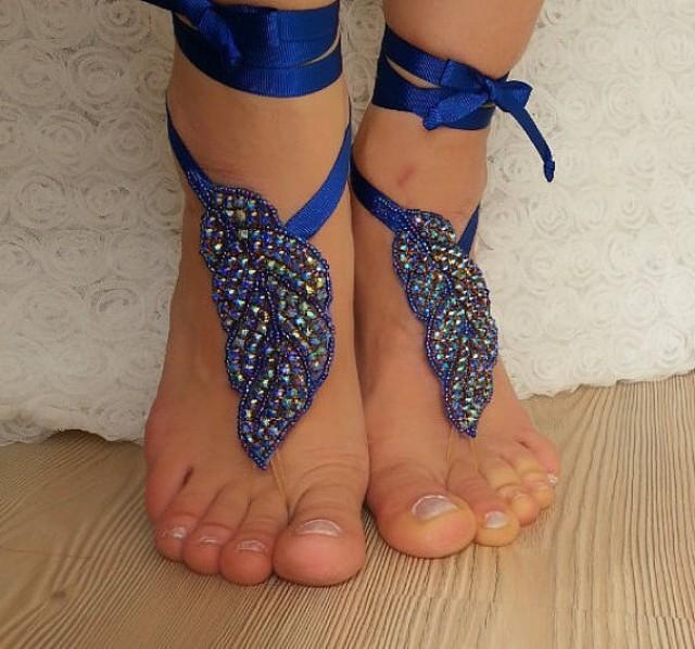 wedding photo - Royal blue Rhinestone anklet, FREE SHIP Beach wedding barefoot sandals, Steampunk, Beach Pool, Sexy, Yoga, Anklet , Bellydance