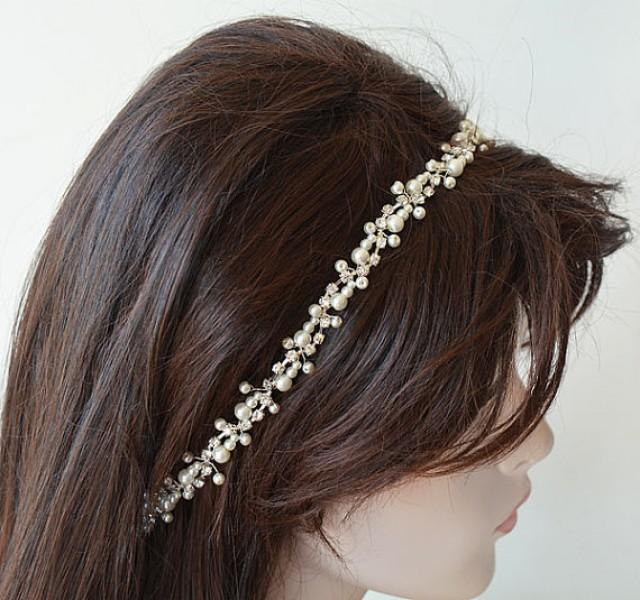 wedding photo - Wedding Hair Accessories, Pearl bridal headband, Bridal Hair Accessories, Pearl Headband, Wedding pearl headpiece, wedding hair jewelry