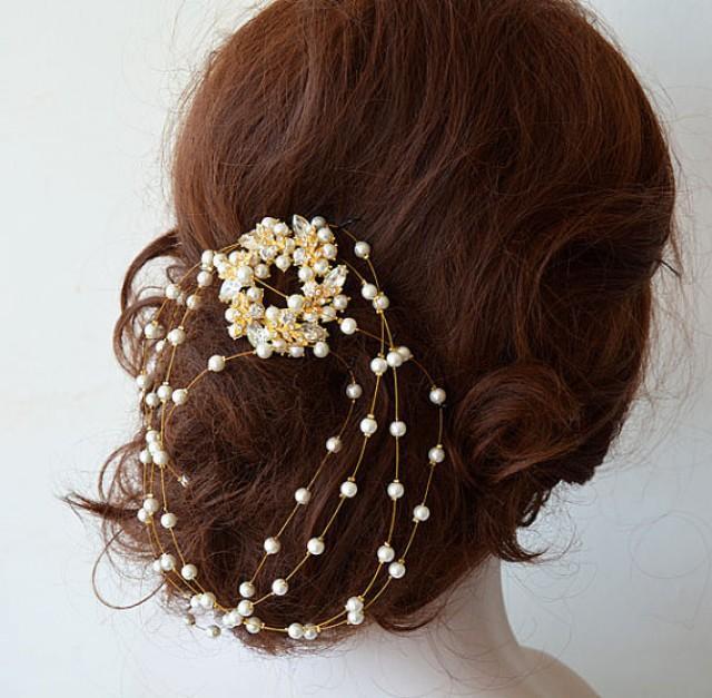 wedding photo - Bridal Hair Accessories, Gold Wedding Headband, Rhinestone and Pearl Headband, Wedding hair Accessory, Hair Accessory, Hair Jewelry