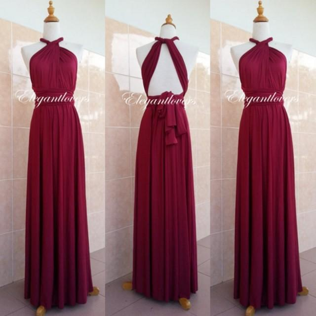 Convertible Dress Maroon Wedding Dress Bridesmaid Dress Infinity Dress Wrap Dress Evening ...
