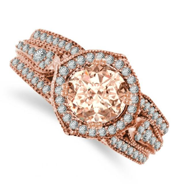 Vintage inspired morganite diamond engagement ring for Media jewelry los angeles