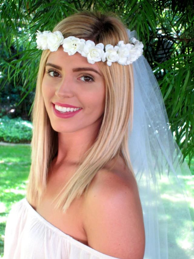 Bridal Shower Hairstyle : Ivory bachelorette veil bridal shower floral crown
