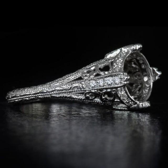 28 Best Sle Of 8mm Antique White antique white desks  : 1900s vintage inspired diamond engagement ring setting 8mm antique filigree milgrain round cushion mount 14k white gold 8171 from www.vatikacityhomes.com size 640 x 640 jpeg 30kB