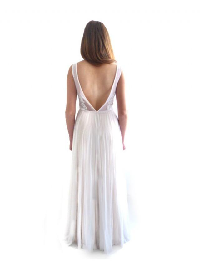 Lace wedding dress open back wedding dress backless a for Backless wedding dress bra