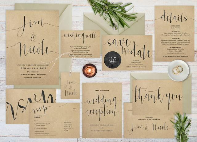 Printable Wedding Invitation Sets: Wedding Invitation Set, Rustic Wedding Invitation Set