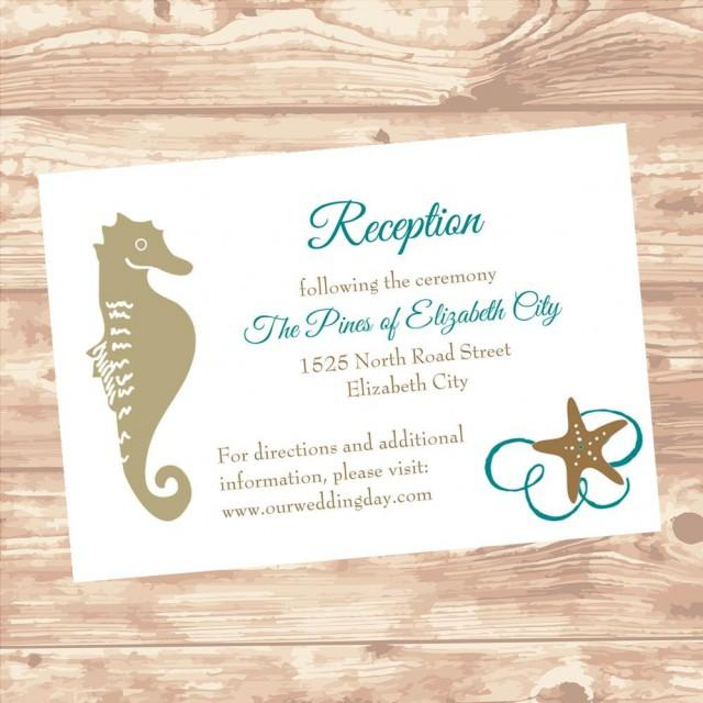 wedding reception or information insert card diy template seashel in teal editable printable. Black Bedroom Furniture Sets. Home Design Ideas
