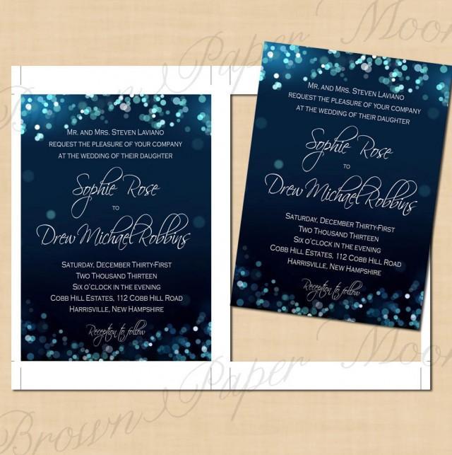 Midnight Blue Night Sky Wedding Invitations 5x7 Text Editable Printable