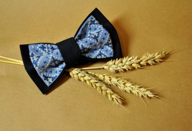 wedding photo - Mens bow tie Men's bow tie Mens bowtie Wedding bow tie Blue navy grey embroidered bow tieGroomsman pre-tied bowtie Eco friendly cros-stitchN