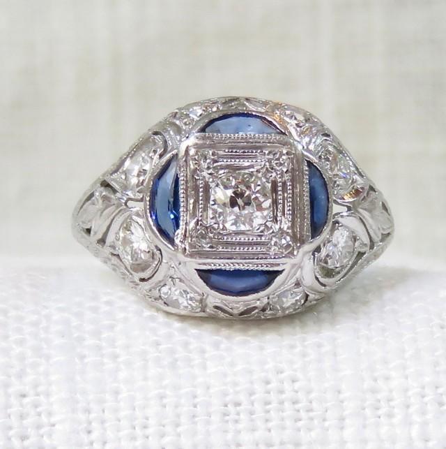wedding photo - Art Deco Platinum Diamond and Blue Sapphire Engagement Ring 1.05 Carats