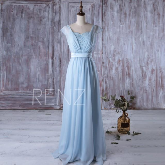 2016 light blue bridesmaid dress long cap sleeves wedding for Light blue lace wedding dress