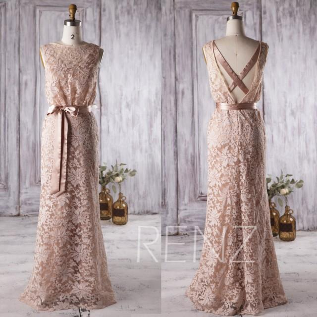 2016 champagne lace bridesmaid dress long criss cross for Cross back wedding dress