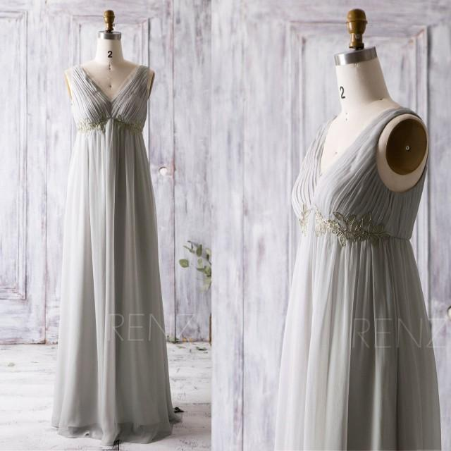 2016 light grey bridesmaid dress with gold lace v neck for Light grey wedding dress