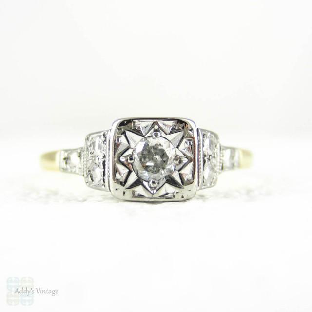 1940s Diamond Engagement Ring Classic Round Brilliant Cut Diamond Solitaire