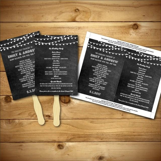 Printable Chalk Wedding Fan Program Template - Grey & White - Instant Download - Editable MS ...