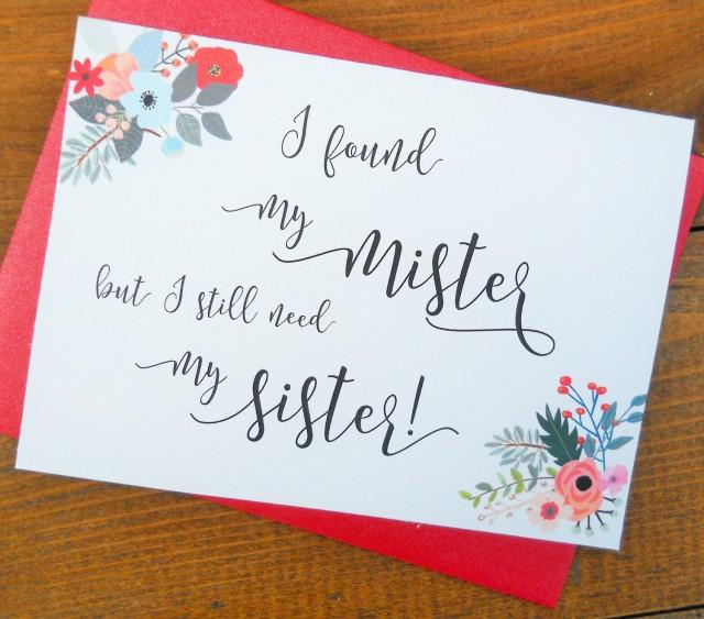 MISTER But I Still Need My Sister, Funny Maid Of Honor Card, Wedding ...