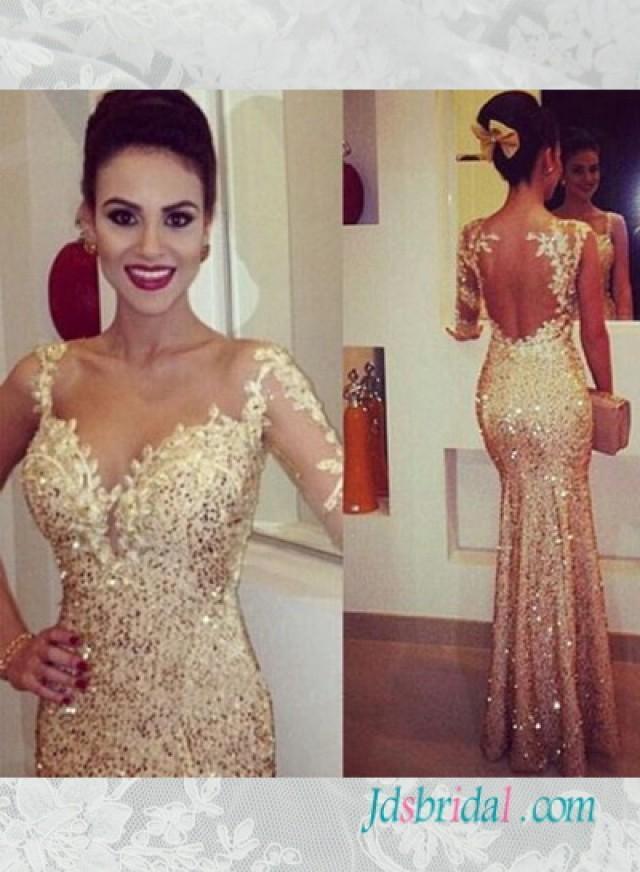 PD16076 Glitter Gold Seuqined One Shoulder Sleeves Mermaid Prom Dress 2512313