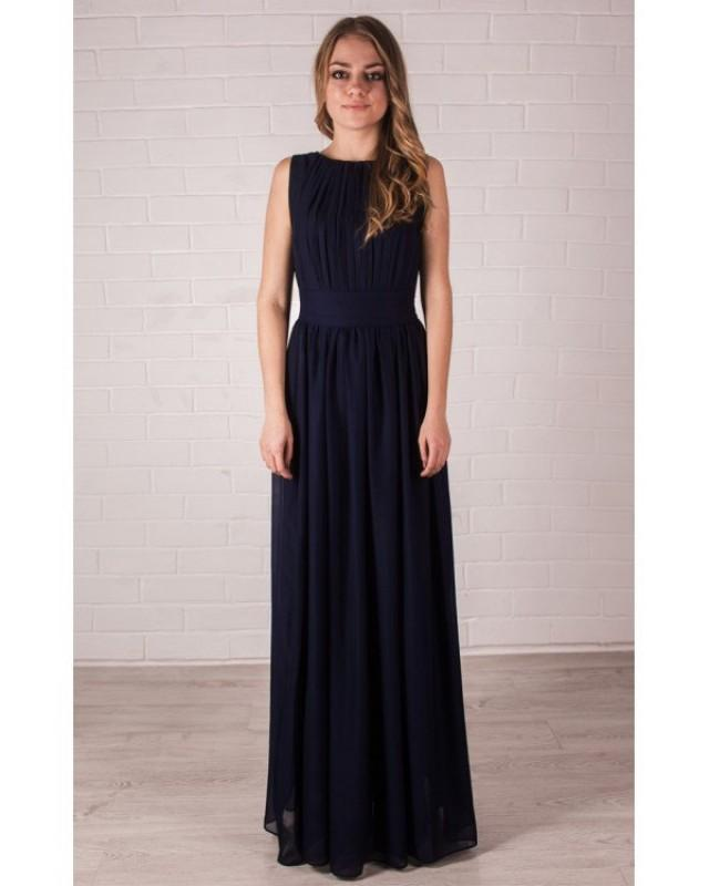Bridesmaid navy blue dress chiffon maxi dress wedding for Navy blue maxi dress for wedding