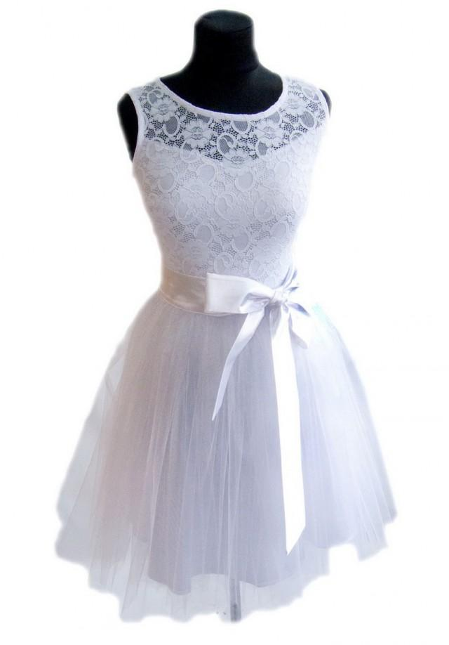 Wedding dress white tulle lace dress bridesmaid formal for Short flared wedding dress