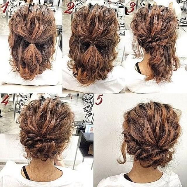 Прически для волос средней длины кучерявых